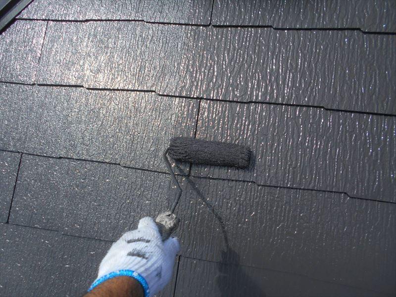 屋根の上塗りをして完成です。