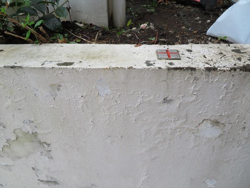 塀のペンキがはがれています。