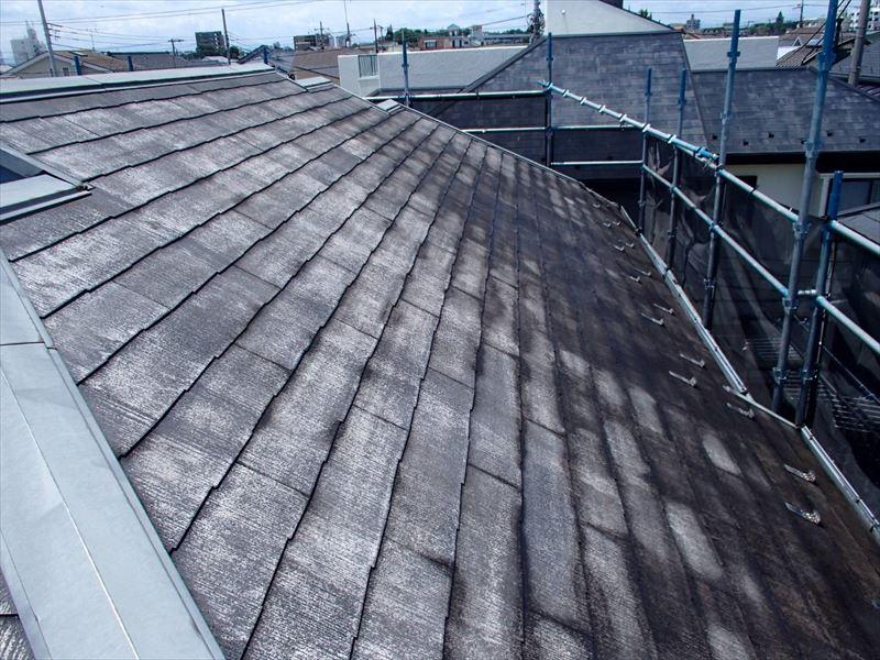 屋根の高圧洗浄が終わりました。汚れが落ちるよう丁寧に洗っているため、高圧洗浄の最後の方には最初に洗ったあたりが乾いています。