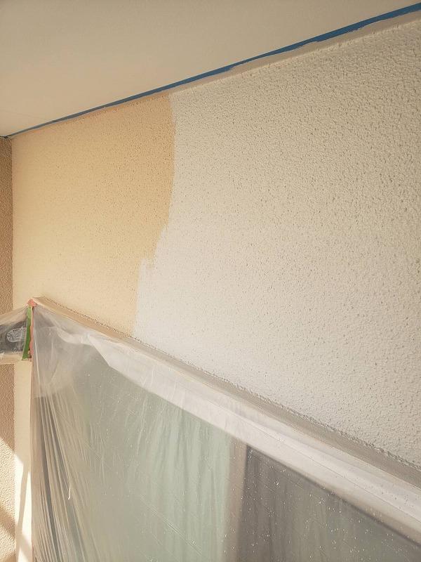 こちらも上塗りの様子です。天井部分は青いシールで養生してあるので、外壁と天井の境目もきっちりと塗り分けています。