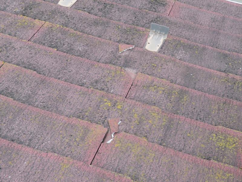 屋根は割れた欠片がずり落ちていました。