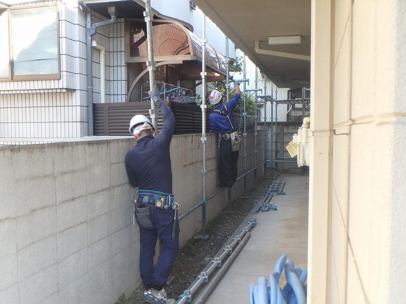 外壁塗装 世田谷区集合住宅D 足場設置20201117PB170127