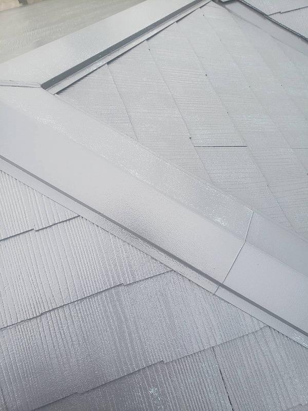 屋根の塗装が完了しました。(水谷ペイント 快適サーモWSi サーモナチュラルグレー)