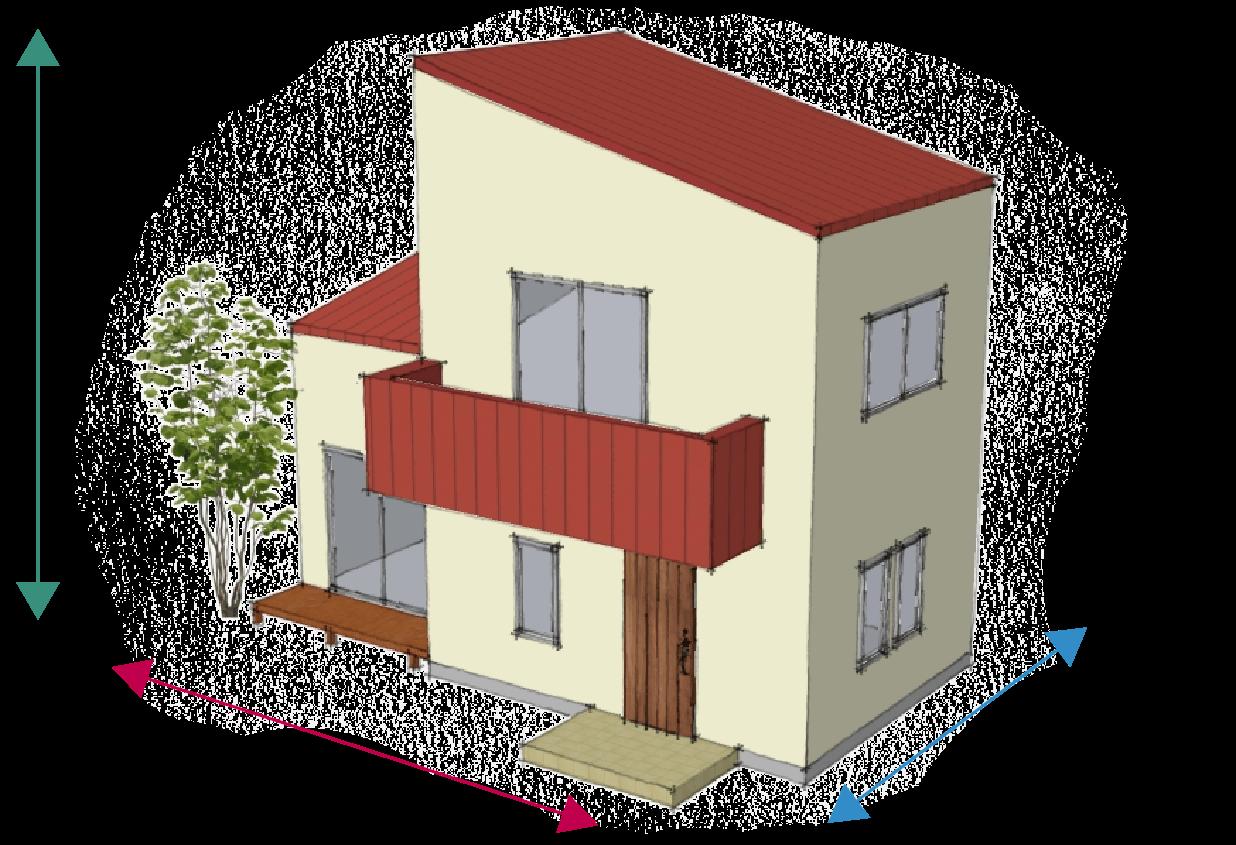 25坪の家の 外壁面積は約125㎡